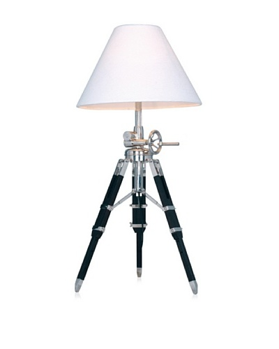 Dimond Adjustable Table Lamp in Chrome and Black with Linen Shade, 28-35H