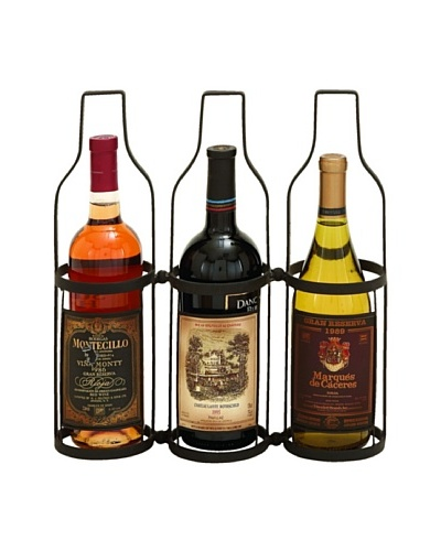 Wine Label 3-Bottle Wine Rack Holder