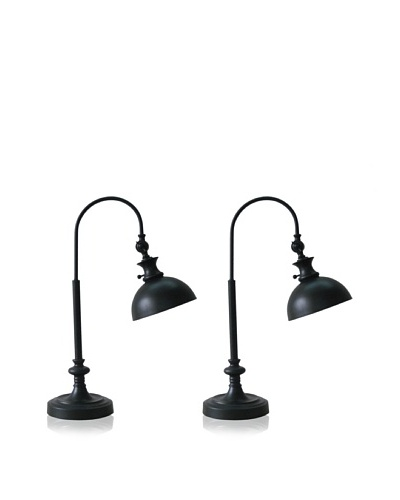 Murray Feiss Set of 2 Antiqued Task Lamps, Black