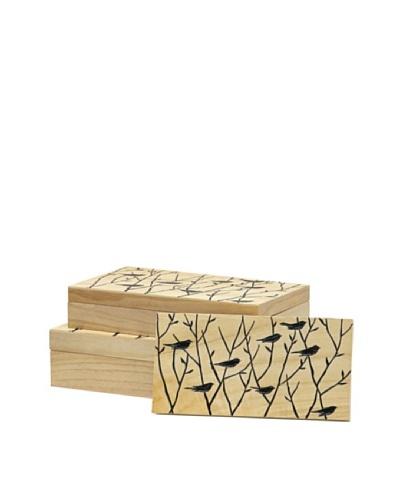 Palecek Set of 3 Blackbird Boxes, Natural/Black