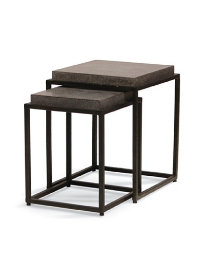 Palecek Set of 2 Stone Resin Tables, Dark Grey/Brown