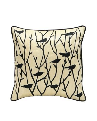 Palecek Blackbird Pillow, Natural/Black
