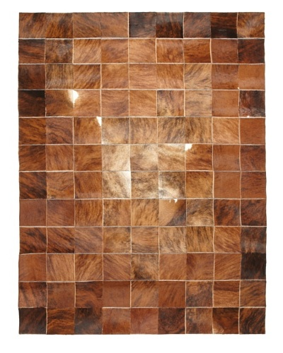Multi Patchwork Hide Rug, Brown, 6' x 9'
