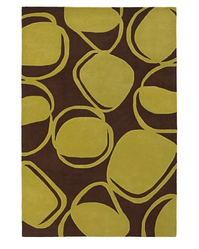 Inhabit Hand-Tufted New Zealand Wool Rug [Chocolate/Lime]