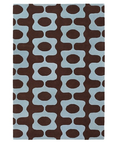Inhabit Hand-Tufted New Zealand Wool Rug [Chocolate/Baby Blue]