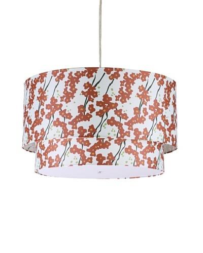 Inhabit Floral Hudson Double Pendant Lamp, Ivory/Rust, 24 x 14