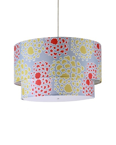"Inhabit Floral Hudson Double Pendant Lamp, Scarlet/Mustard, 24"" x 14"""