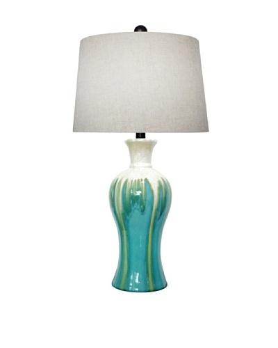 Integrity Lighting Glazed Ceramic Table Lamp, Aqua/Blue/Cream