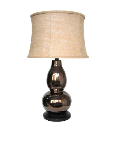 Integrity Lighting Crackle-Glazed Ceramic Double Gourd Table Lamp, Bronze