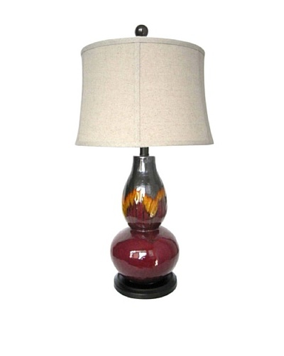 Integrity Lighting Glazed Ceramic Table Lamp, Burgundy/Orange