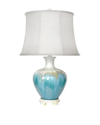 Integrity Lighting Glazed Ceramic Table Lamp, White Metallic/Aqua