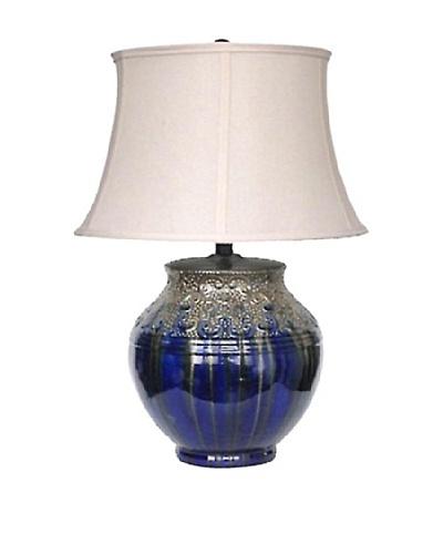 Integrity Lighting Glazed Ceramic Table Lamp, Metallic Silver/Blue