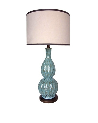 Integrity Lighting Glazed Ceramic Double Gourd Table Lamp, Brown/Blue