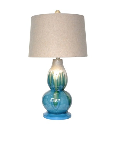 Integrity Lighting Crackle-Glazed Ceramic Double Gourd Table Lamp, Cream/Blue