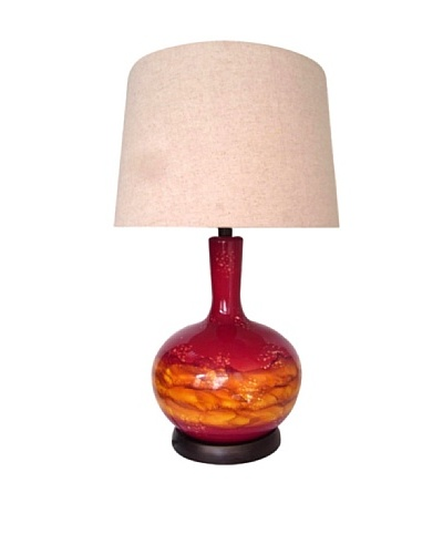Integrity Lighting Blown Glass Table Lamp with Nightlight, Red/Orange