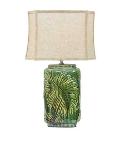Integrity Lighting Glazed Ceramic Table Lamp with Raised Leaf Design, Green