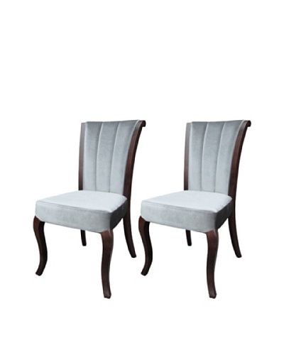 International Design USA Set of 2 Venice Velvet Dining Chairs, Pewter