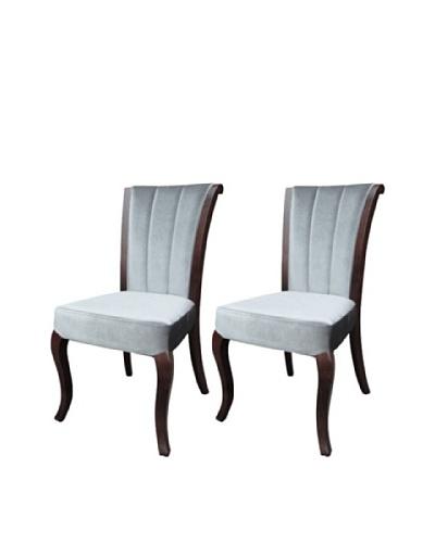 International Design USA Set of 2 Venice Velvet Dining Chairs, Pewter