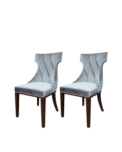 International Design USA Set of 2 Regis Velvet Dining Chairs, Grey
