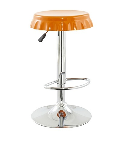 International Design USA Plastic Soda Cap Adjustable Stool, Orange