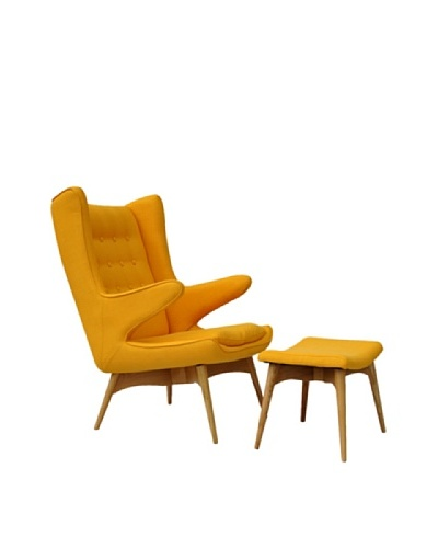 International Design USA Moderno Mid Century-Inspired Chair & Ottoman Set, Yellow