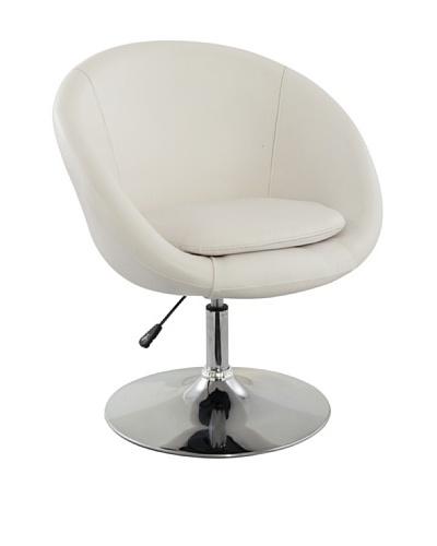 International Design USA Barrel Adjustable Swivel Leisure Chair, White