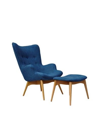 International Design USA Huggy Chair & Ottoman Set, Blue