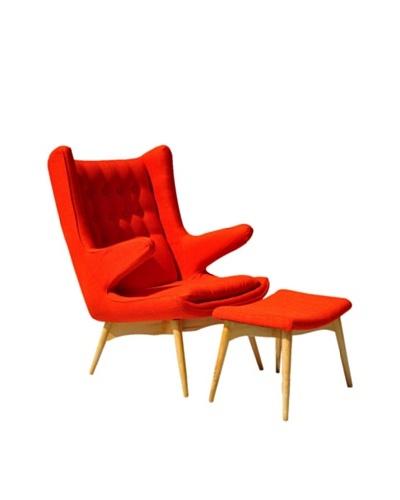 International Design USA Moderno Mid Century-Inspired Chair & Ottoman Set, Orange