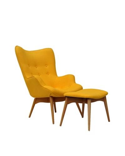 International Design USA Huggy Chair & Ottoman Set, Yellow