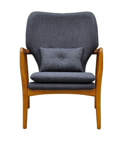 International Design USA Madison Linen Lounge Chair, Charcoal