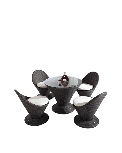 International Designs USA Club Outdoor 5-Piece Outdoor  Dining Set, Black
