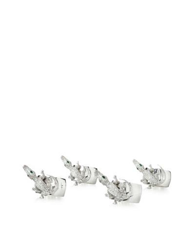 Isabella Adams Set of 4 Crystallized Crocodile Napkin Rings, Silver