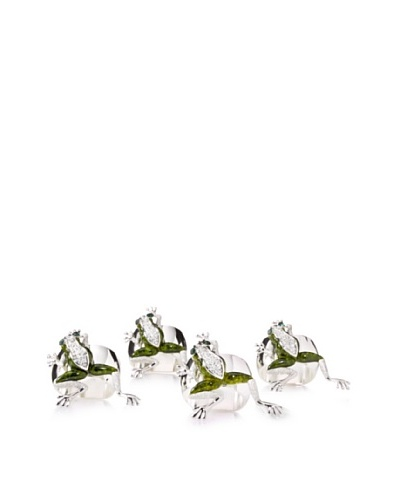 Isabella Adams Set of 4 Tree Frog Napkin Rings with Swarovski Crystals, Green/Silver
