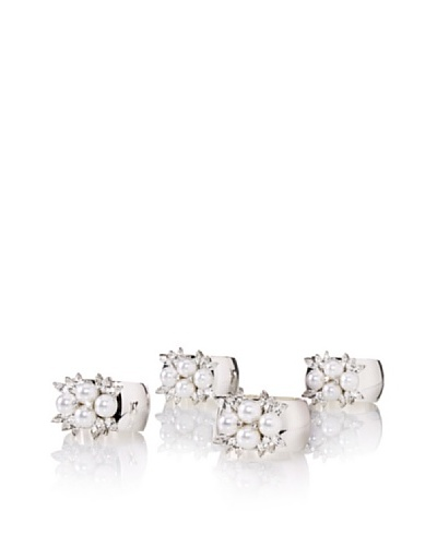 Isabella Adams Set of (4) 4-Pearl Napkin Rings with Swarovski Crystals, Silver