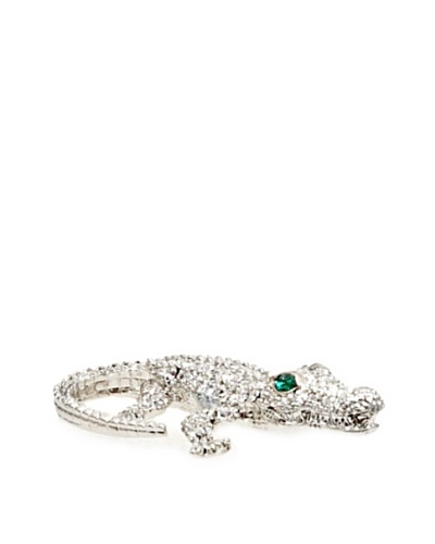 Isabella Adams Small Swarovski Crystal Crocodile Paperweight, Silver