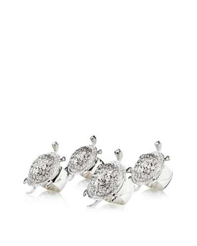 Isabella Adams Set of 4 Large Crystallized Turtle Napkin Rings, Silver