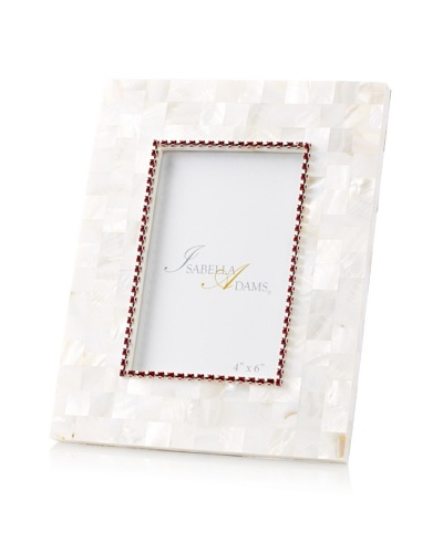 "Isabella Adams 4"" x 6"" Crystallized Mother-of-Pearl Picture Frame with Birthstone"