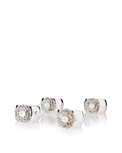 Isabella Adams Set of 4 Single Pearl Napkin Rings with Swarovski Crystals, Silver