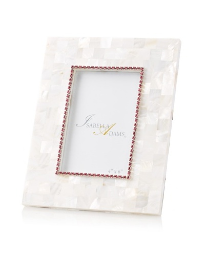 Isabella Adams 4 x 6 Crystallized Mother-of-Pearl Picture Frame with Birthstone, October