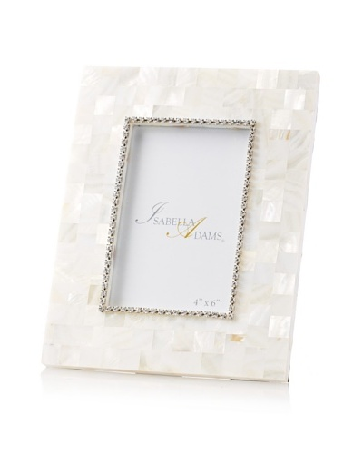 Isabella Adams 4 x 6 Crystallized Mother-of-Pearl Picture Frame with Birthstone, April