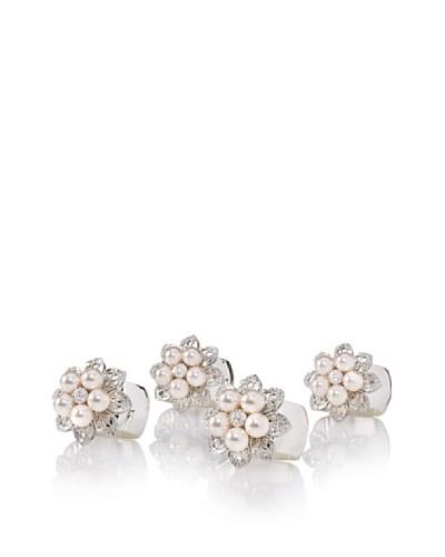 Isabella Adams Set of 4 Freshwater Pearl Napkin Rings with Swarovski Crystals, Silver