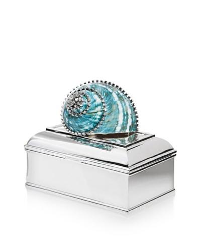 Isabella Adams Turbo Shell Keepsake Box with Swarovski Crystals, Green/Silver