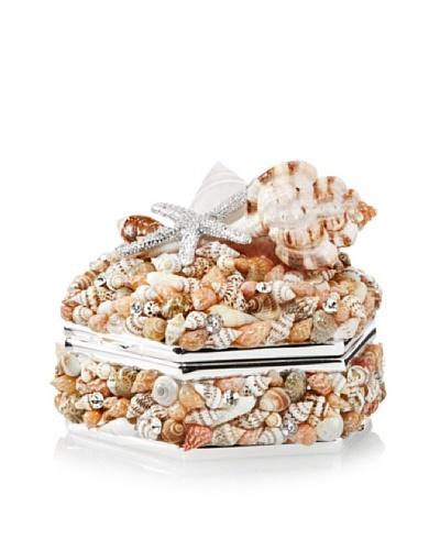Isabella Adams Natural Sea Shell Keepsake Box with Swarovski Crystals, Silver