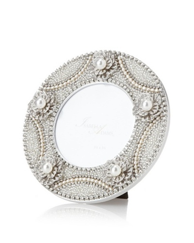 Isabella Adams Freshwater Pearl and Crystal Picture Frame, Silver, 6 Round