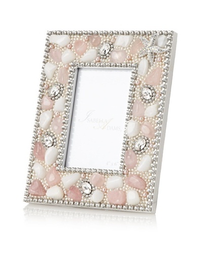 Isabella Adams Gemstone and Swarovski Crystal Picture Frame, Pink/White, 4 x 6