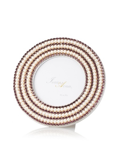 Isabella Adams 6 Round Freshwater Pearl & Swarovski Crystal Picture Frame, February