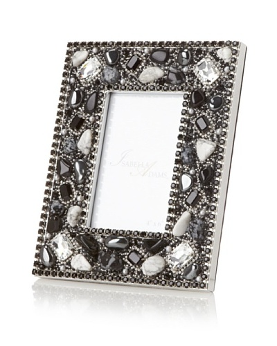 "Isabella Adams Gemstone and Swarovski Crystal Picture Frame, Black/White, 4"" x 6"""