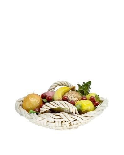 Italian Capodimonte Hand-Made Ceramic Oval Fruit Basket