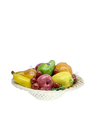 Italian Capodimonte Ceramic Hand-Made Fruit Basket