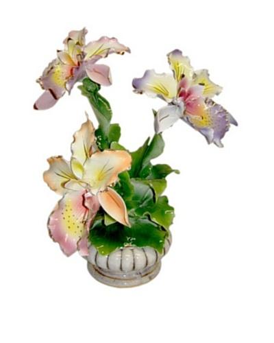 Italian Capodimonte Hand-Made Ceramic Three Orchid Center Piece